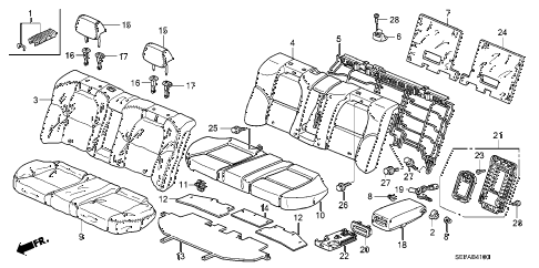 2008 TL TYPE-S 4 DOOR 6MT REAR SEAT diagram