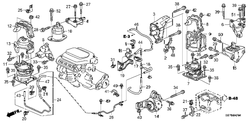 2008 TL TYPE-S 4 DOOR 5AT ENGINE MOUNTS (AT) diagram