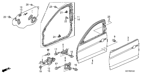 2008 TL TYPE-S 4 DOOR 6MT FRONT DOOR PANELS diagram