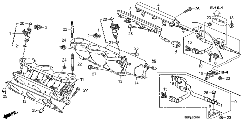 2008 TL TYPE-S 4 DOOR 6MT FUEL INJECTOR diagram