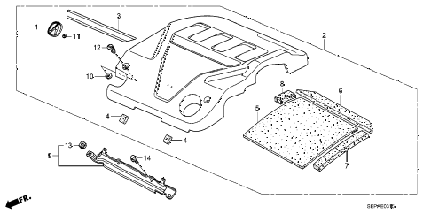 2008 TL TYPE-S 4 DOOR 5AT ENGINE COVER diagram