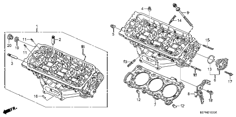 2008 TL TYPE-S 4 DOOR 6MT FRONT CYLINDER HEAD diagram