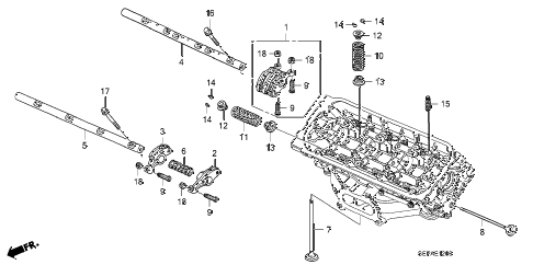 2008 TL TYPE-S 4 DOOR 5AT VALVE - ROCKER ARM (FR.) diagram