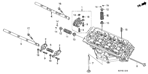 2008 TL TYPE-S 4 DOOR 6MT VALVE - ROCKER ARM (RR.) diagram