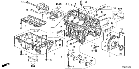 2008 TL TYPE-S 4 DOOR 5AT CYLINDER BLOCK - OIL PAN diagram