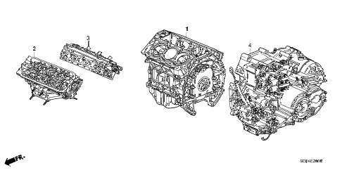 2008 TL TYPE-S 4 DOOR 5AT ENGINE ASSY. - TRANSMISSION ASSY. diagram