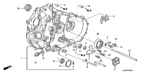 2008 TL TYPE-S 4 DOOR 6MT MT CLUTCH CASE diagram