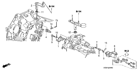 2008 TL TYPE-S 4 DOOR 6MT MT SHIFT ARM diagram