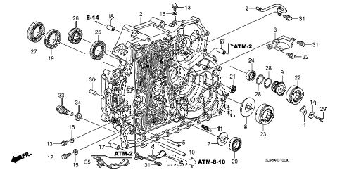 2010 RL 4 DOOR 5AT AT TORQUE CONVERTER CASE diagram
