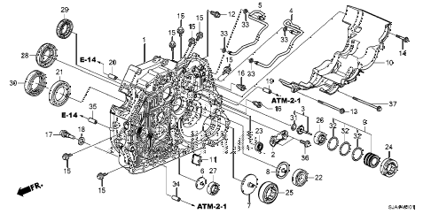 2012 RL-TEC 4 DOOR 6AT AT TORQUE CONVERTER CASE (6AT) diagram