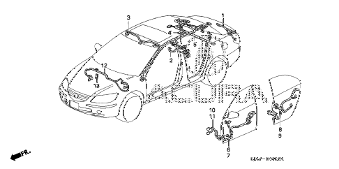 2008 RL 4 DOOR 5AT WIRE HARNESS (4) diagram