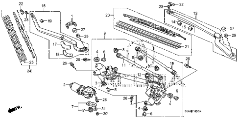 2009 RL-TEC 4 DOOR 5AT FRONT WINDSHIELD WIPER diagram