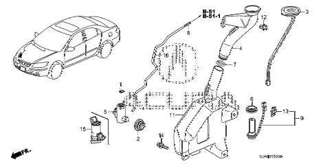 2008 RL 4 DOOR 5AT WINDSHIELD WASHER (1) diagram