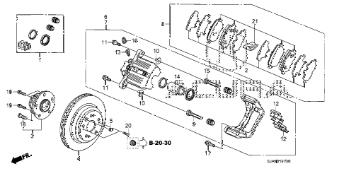 2005 RL 4 DOOR 5AT REAR BRAKE diagram