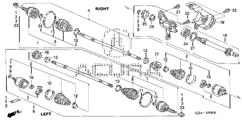 2005 RL 4 DOOR 5AT DRIVESHAFT - HALF SHAFT diagram