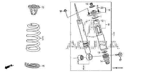 2011 RL 4 DOOR 6AT REAR SHOCK ABSORBER diagram