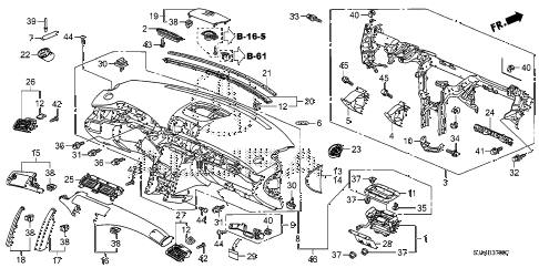 2009 RL 4 DOOR 5AT INSTRUMENT PANEL diagram