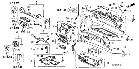 2009 RL-TEC 4 DOOR 5AT INSTRUMENT PANEL GARNISH diagram