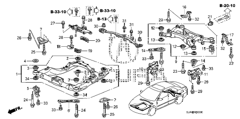 2009 RL 4 DOOR 5AT FRONT SUB FRAME diagram