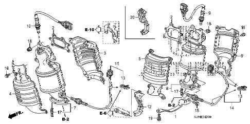 2005 RL 4 DOOR 5AT EXHAUST MANIFOLD (1) diagram