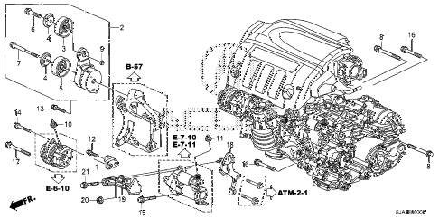 2008 RL-TEC 4 DOOR 5AT ALTERNATOR BRACKET diagram