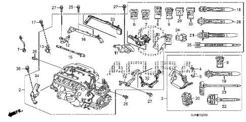 2009 RL 4 DOOR 5AT ENGINE WIRE HARNESS (1) diagram