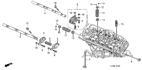 2006 RL 4 DOOR 5AT VALVE - ROCKER ARM (FR.) (1) diagram