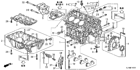 2009 RL 4 DOOR 5AT CYLINDER BLOCK - OIL PAN diagram
