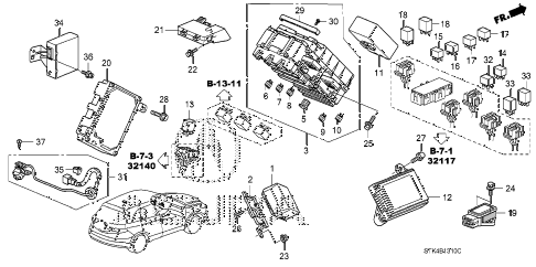 2010 RDX(TECH) 5 DOOR 5AT CONTROL UNIT (CABIN) (1) diagram