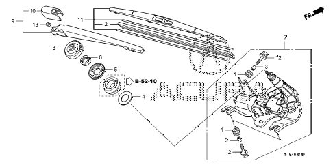 2009 RDX TECH 5 DOOR 5AT REAR WIPER diagram