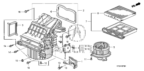 2009 RDX 5 DOOR 5AT HEATER BLOWER diagram