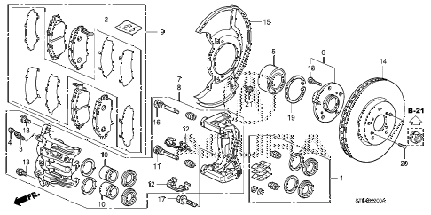 2011 RDX TECH 5 DOOR 5AT FRONT BRAKE diagram