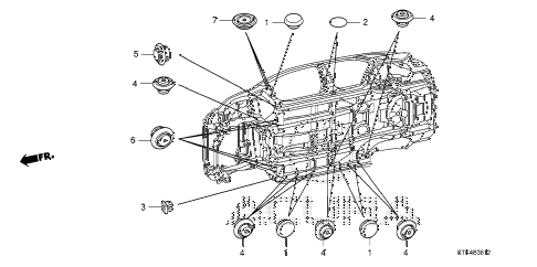 2011 RDX TECH 5 DOOR 5AT GROMMET (LOWER) diagram