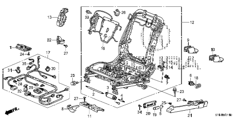 2011 RDX(SH-AWD) 5 DOOR 5AT FRONT SEAT COMPONENTS (L.) (2) diagram