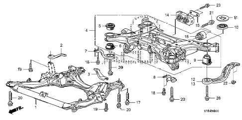 2009 RDX(TECH) 5 DOOR 5AT FRONT SUB FRAME - REAR BEAM diagram