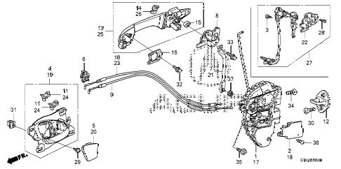 2008 RDX(TECH) 5 DOOR 5AT FRONT DOOR LOCKS - OUTER HANDLE diagram