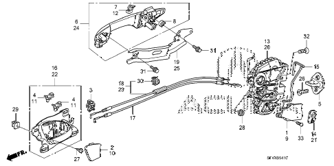 2009 RDX 5 DOOR 5AT REAR DOOR LOCKS - OUTER HANDLE diagram
