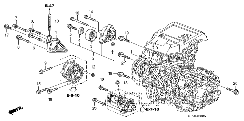 2011 RDX 5 DOOR 5AT ENGINE MOUNTING BRACKET diagram