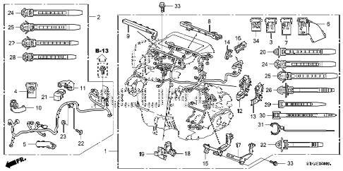 2007 RDX(TECH) 5 DOOR 5AT ENGINE WIRE HARNESS diagram