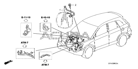 2007 RDX(TECH) 5 DOOR 5AT ENGINE WIRE HARNESS STAY diagram