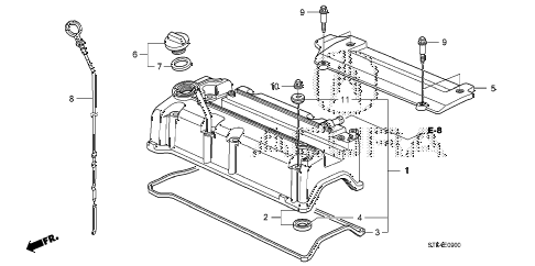 2008 RDX(TECH) 5 DOOR 5AT CYLINDER HEAD COVER diagram