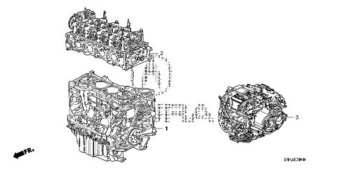 2011 RDX BASE 5 DOOR 5AT ENGINE ASSY. - TRANSMISSION ASSY. diagram