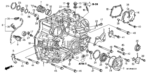 2007 MDX SPORT 5 DOOR 5AT AT TRANSMISSION CASE diagram