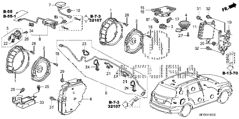 2007 MDX SPORT 5 DOOR 5AT ANTENNA - SPEAKER diagram