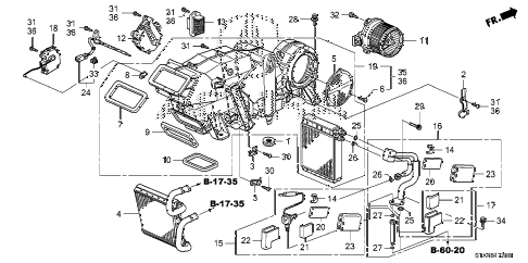 2008 MDX SPORT 5 DOOR 5AT REAR HEATER UNIT diagram