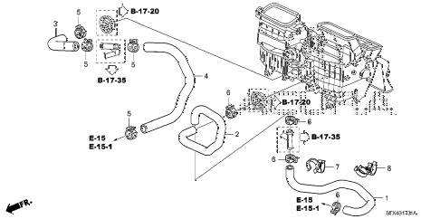 2009 MDX 5 DOOR 5AT WATER HOSE (2) diagram