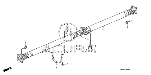 2009 MDX 5 DOOR 5AT PROPELLER SHAFT diagram