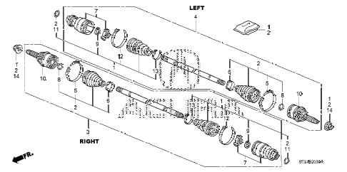 2009 MDX 5 DOOR 5AT REAR DRIVESHAFT diagram