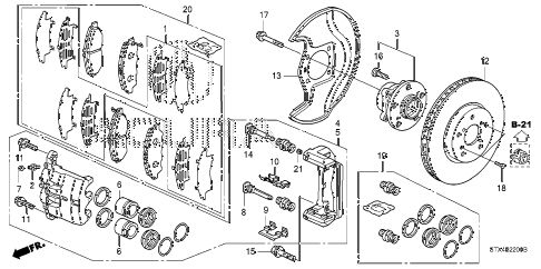 2009 MDX 5 DOOR 5AT FRONT BRAKE diagram