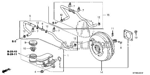 2008 MDX SPORT 5 DOOR 5AT BRAKE MASTER CYLINDER  - MASTER POWER (KA/KC) diagram
